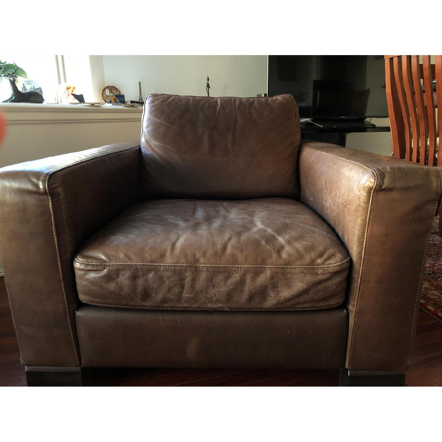Bloomingdale's Brown Leather Chair - image-2