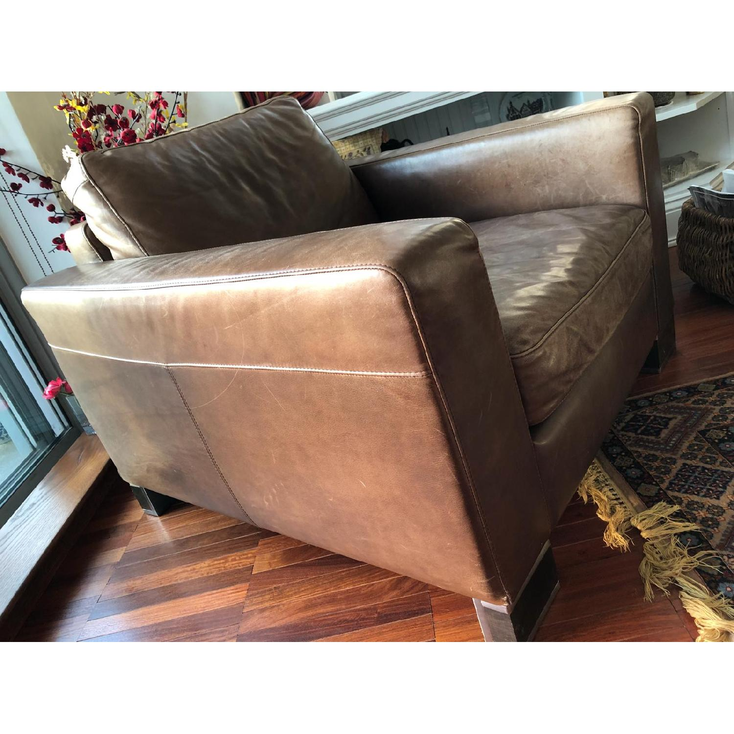 Bloomingdale's Brown Leather Chair - image-3
