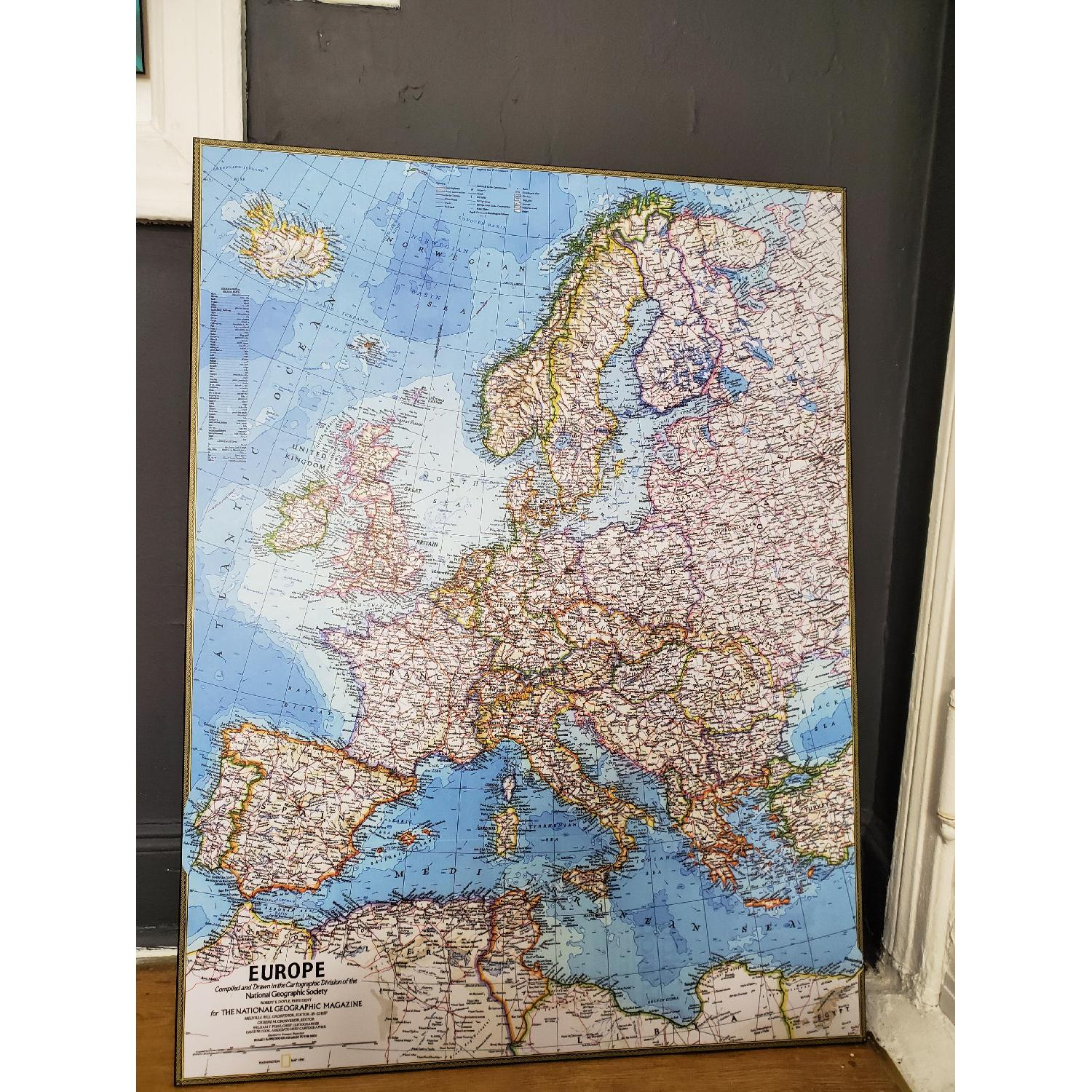 Wood Mounted Map of Europe National Geographic - image-1
