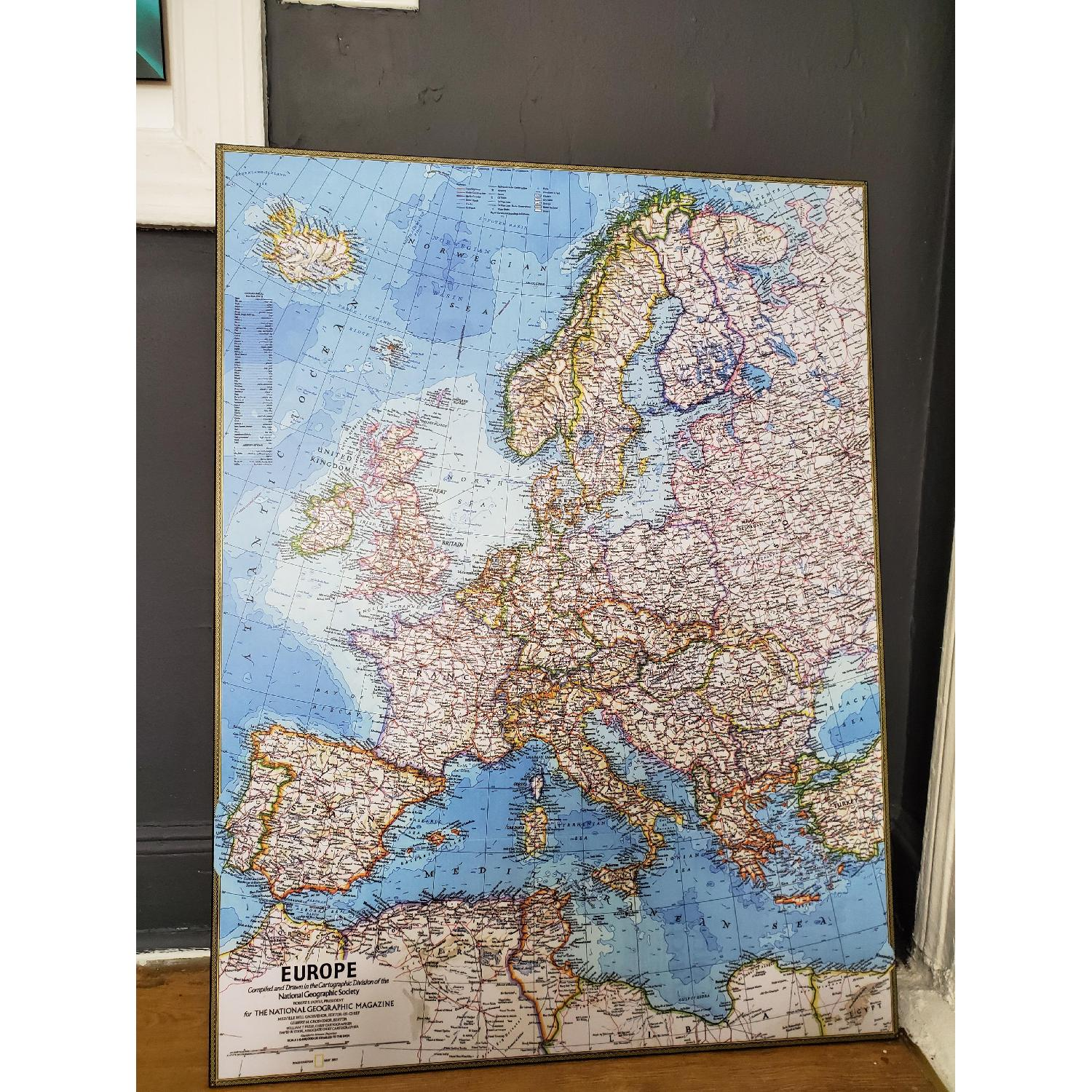 Wood Mounted Map of Europe National Geographic - image-2