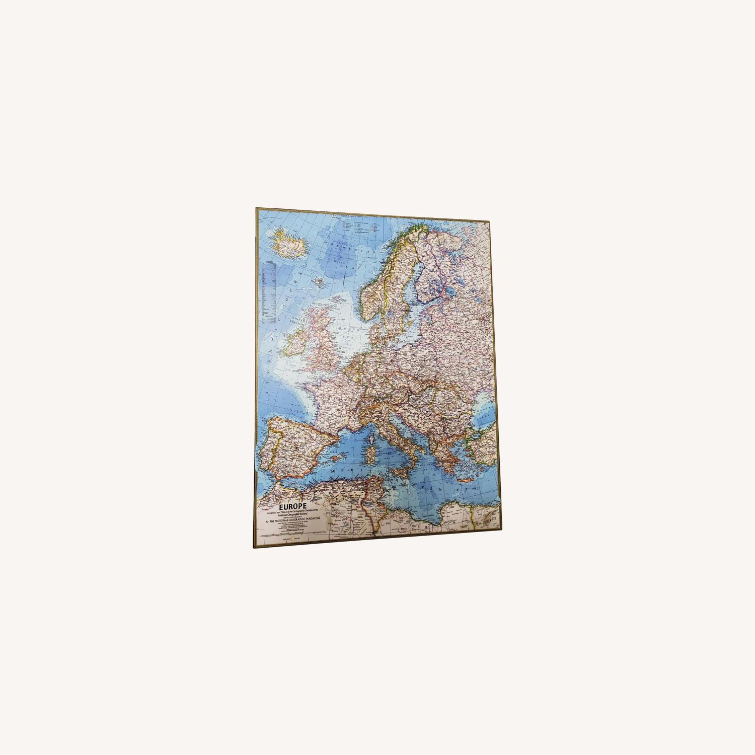 Wood Mounted Map of Europe National Geographic - image-0