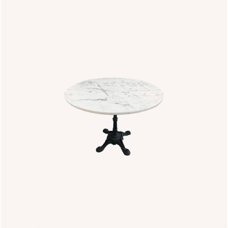 Vintage Outdoor/Indoor Marble Top Metal Table - image-0