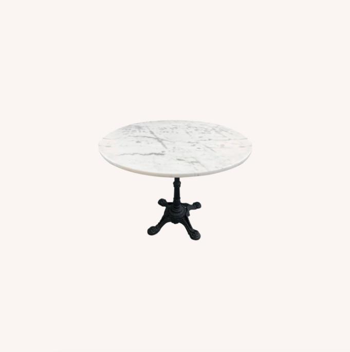 Vintage Outdoor/Indoor Marble Top Metal Table
