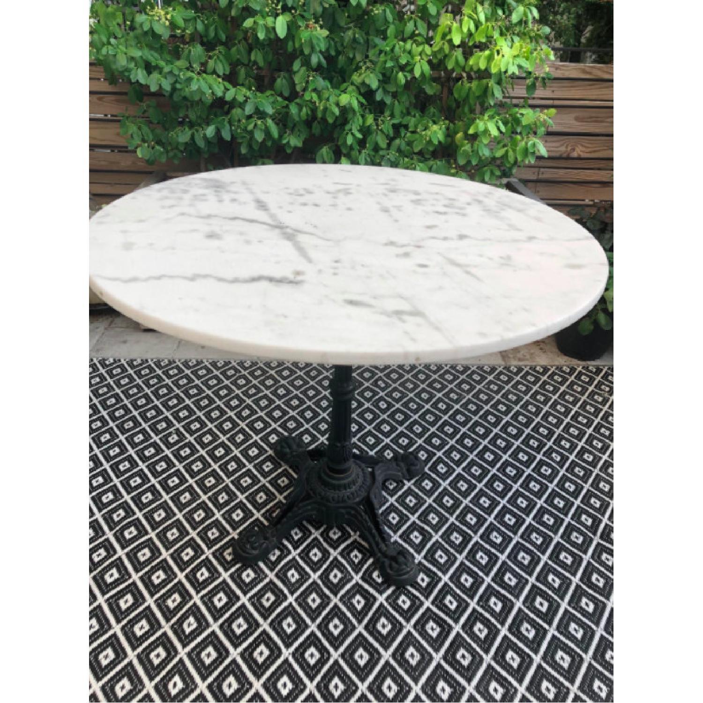 Vintage Outdoor/Indoor Marble Top Metal Table - image-1