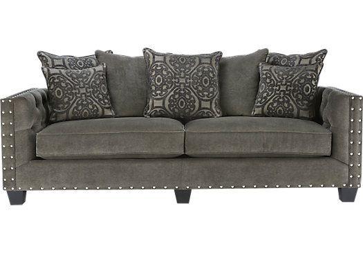 Raymour & Flanigan Tufted Grey Deep Sofa