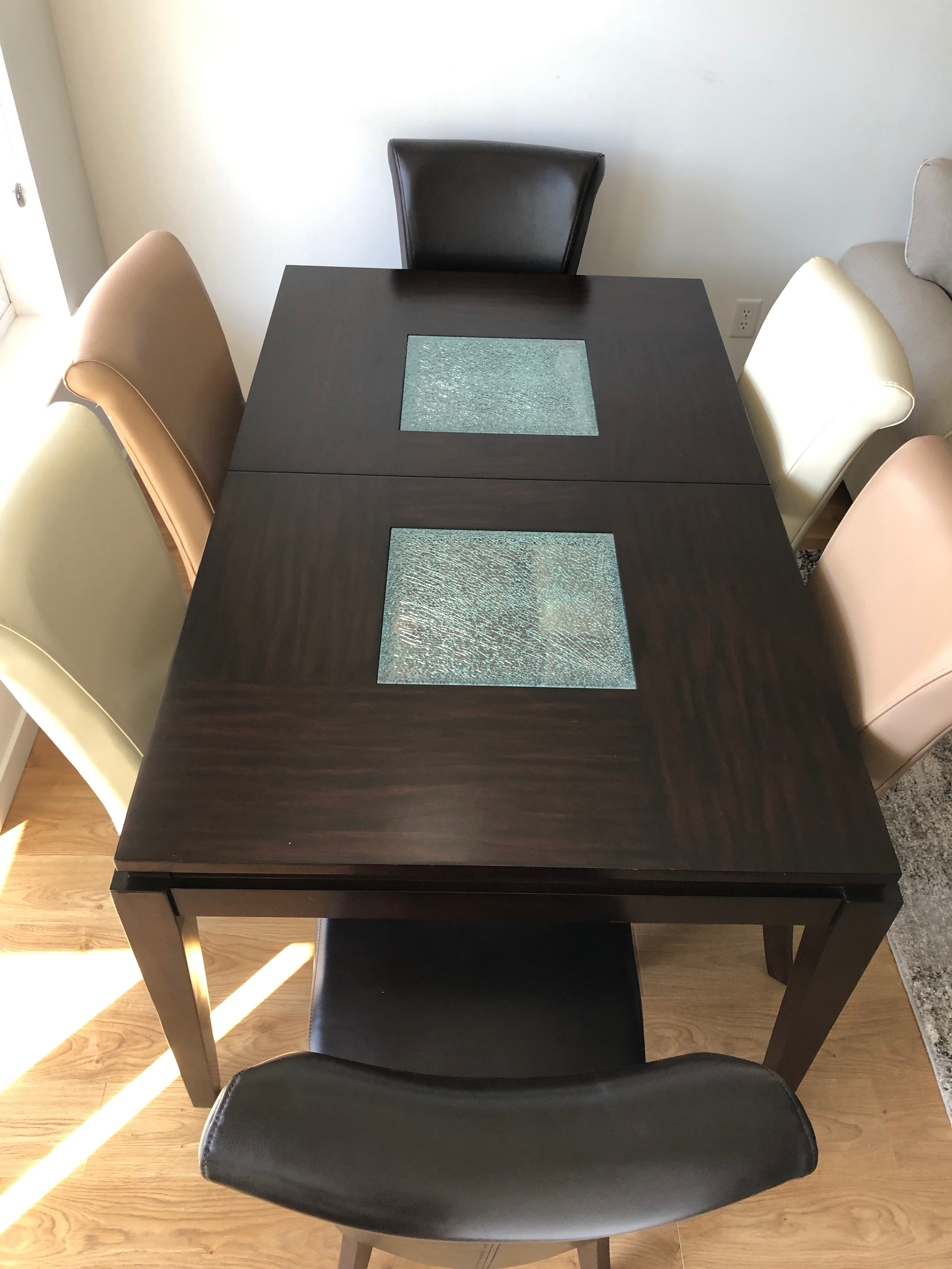 Alpine Lakeport Espresso Extension Dining Table w/ 6 Chairs