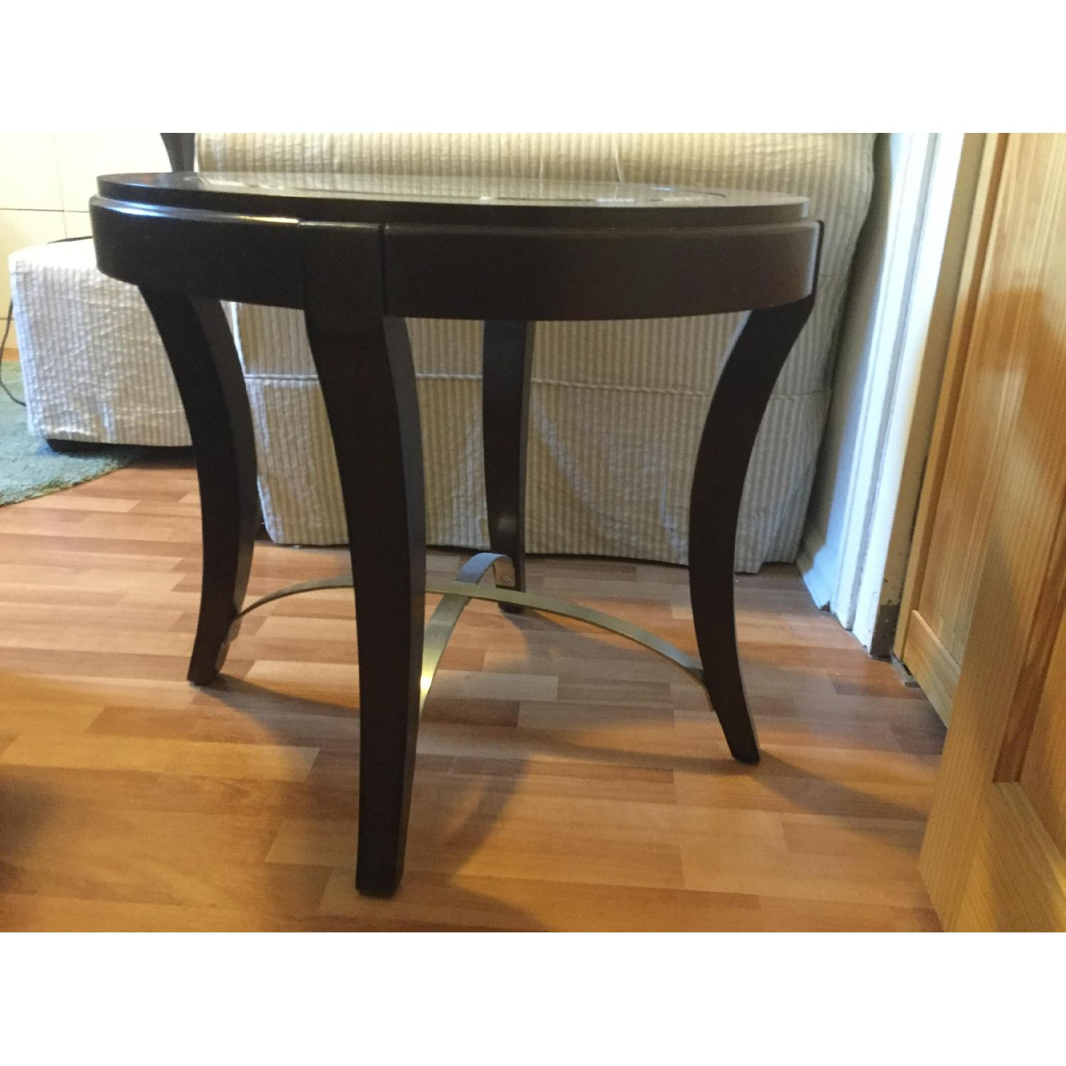 Raymour & Flanigan End Table w/ Glass Insert - image-3
