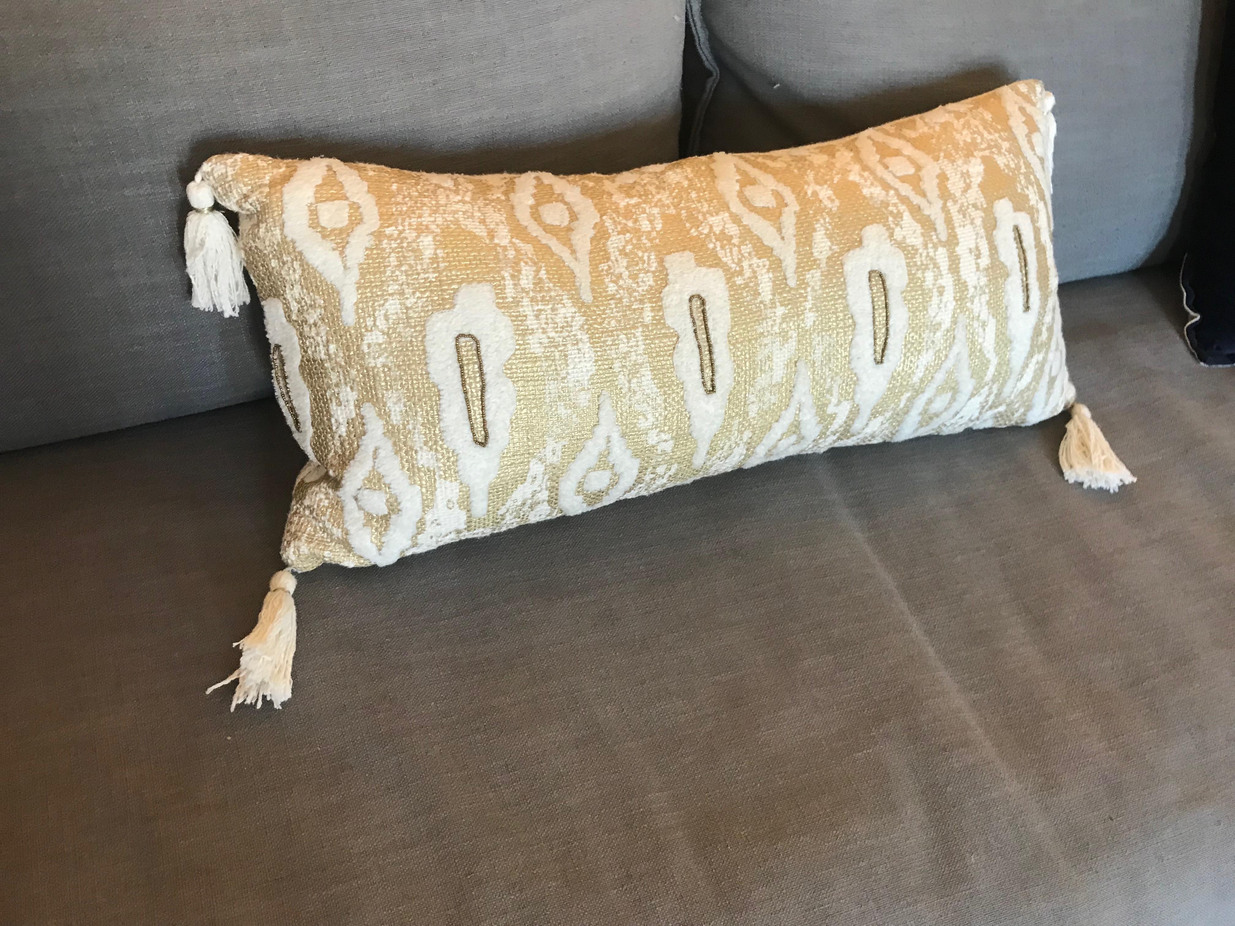 Anthropologie Gold Tassel Pillow