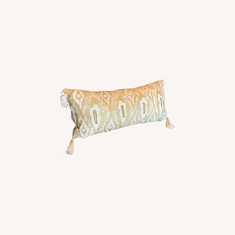Anthropologie Gold Tassel Pillow - image-0
