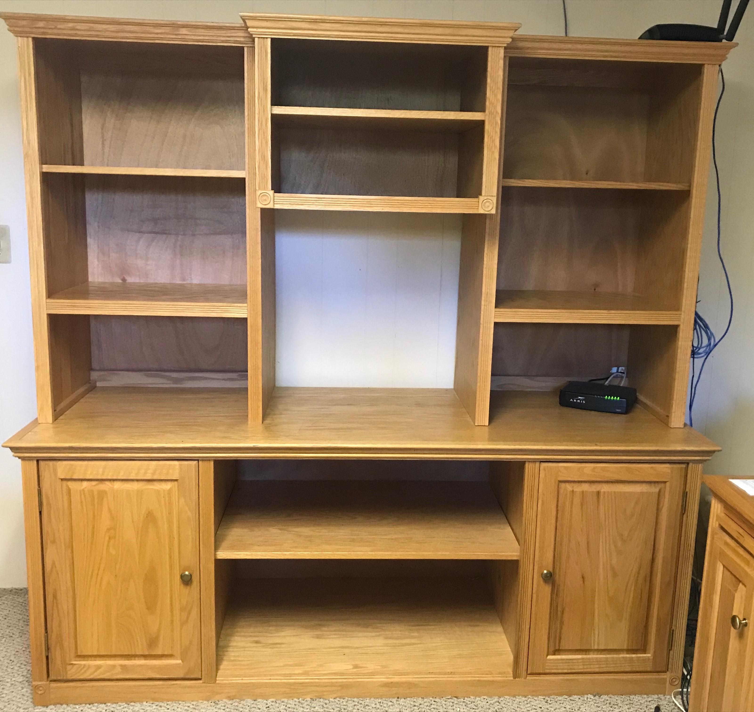 3-Piece Wood Bookcase in Oak Finish