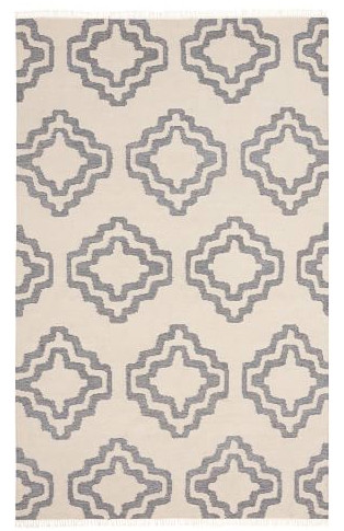 Pottery Barn Sheldon Flatweave Rug in Ivory & Gray