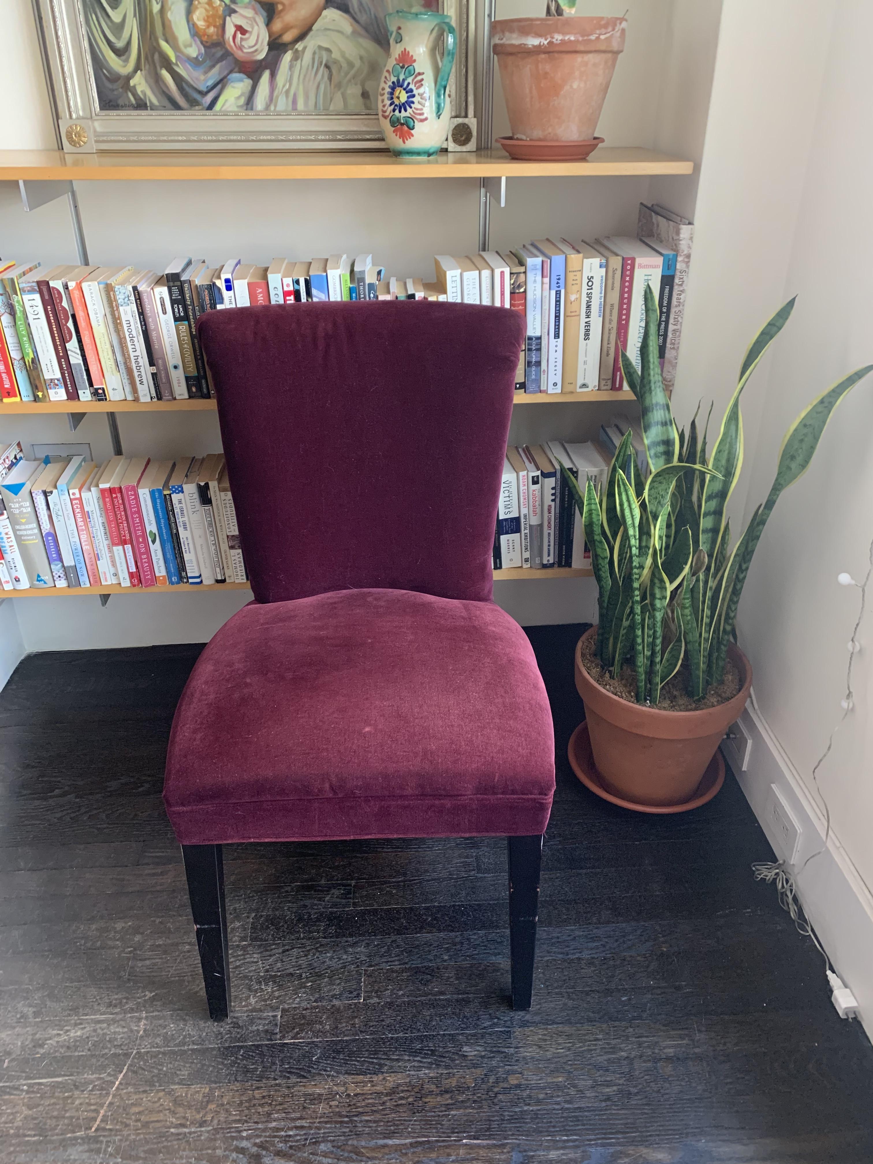 Crate & Barrel Purple Velvet Dining Chairs