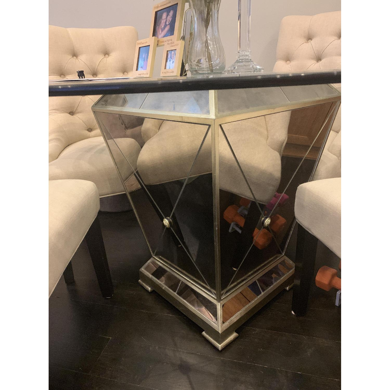 Z Gallerie Glass Dining Table w/ 4 Tufted Chairs - image-2