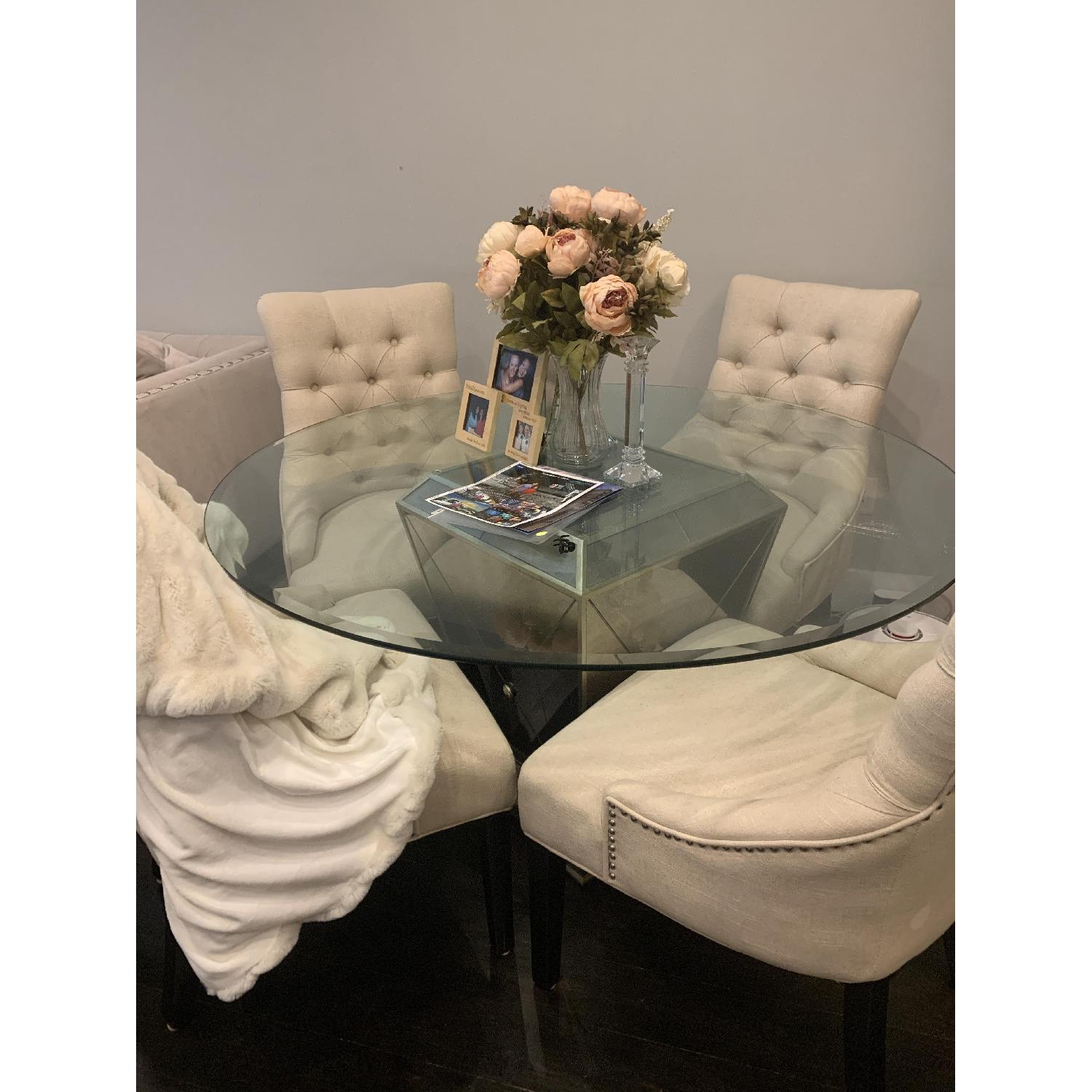 Z Gallerie Glass Dining Table w/ 4 Tufted Chairs - image-1