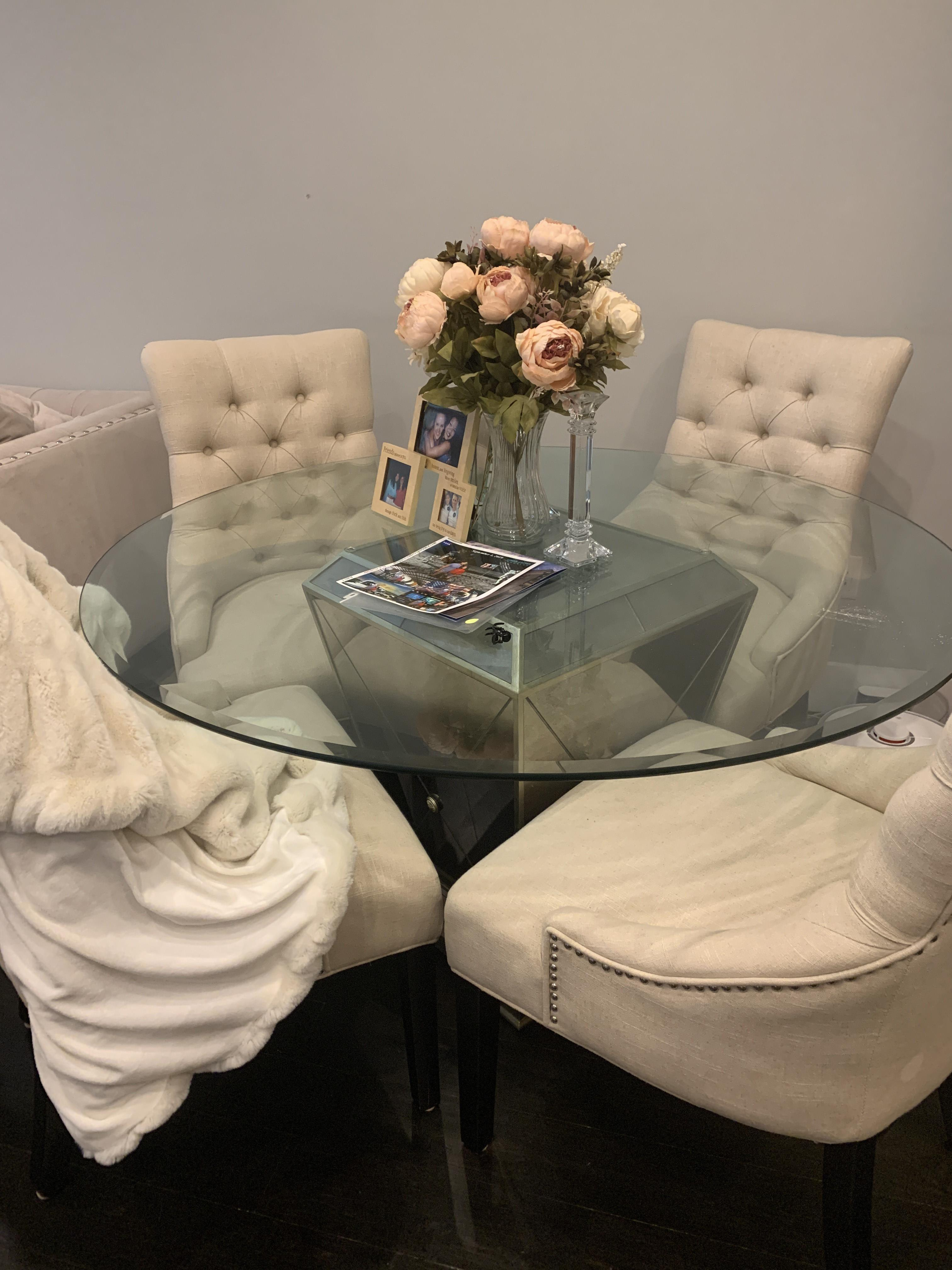 Z Gallerie Glass Dining Table w/ 4 Tufted Chairs