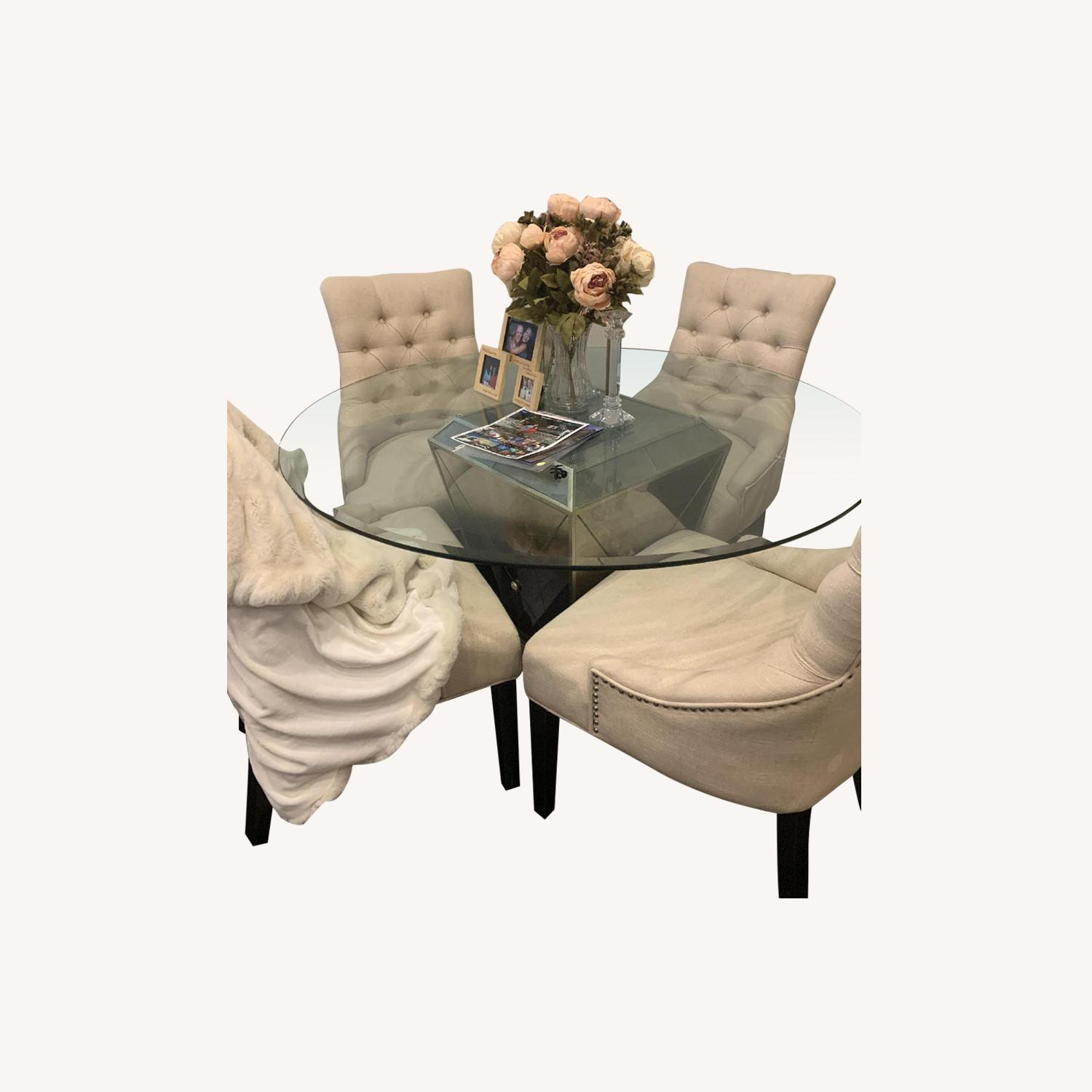 Z Gallerie Glass Dining Table w/ 4 Tufted Chairs - image-0