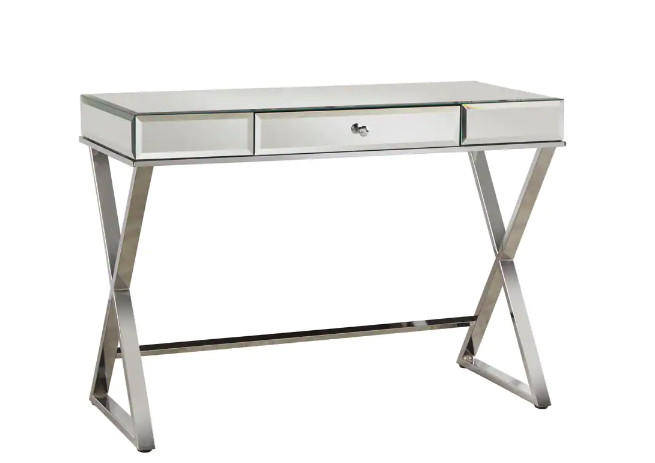 InspireQ Omni X-Base Mirrored Top 1-Drawer Campaign Desk