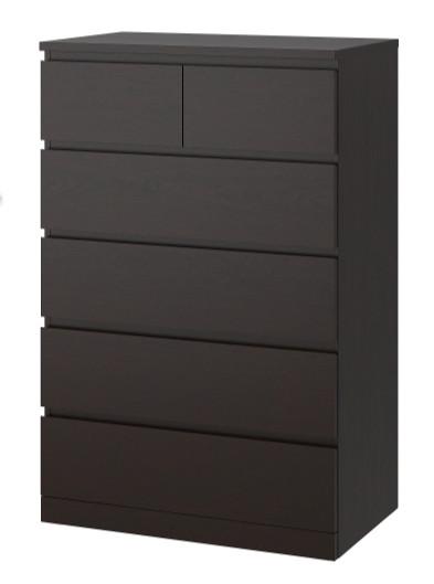 Ikea Malm Black 6 Drawer Chest