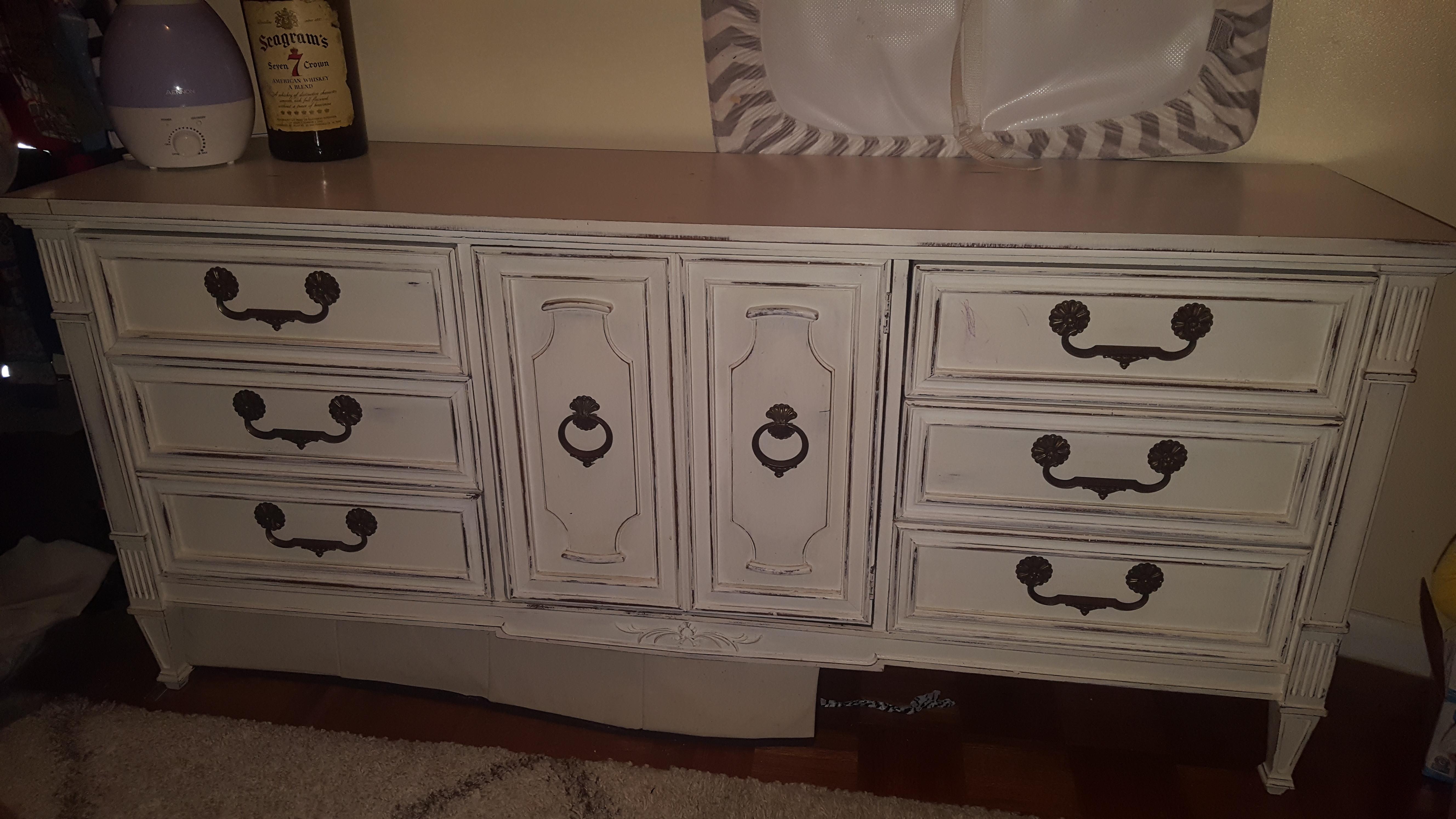 Vintage Distressed White Dresser