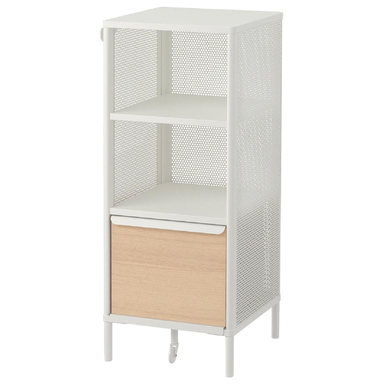 Ikea White Metal & Oak Storage Shelf - image-0