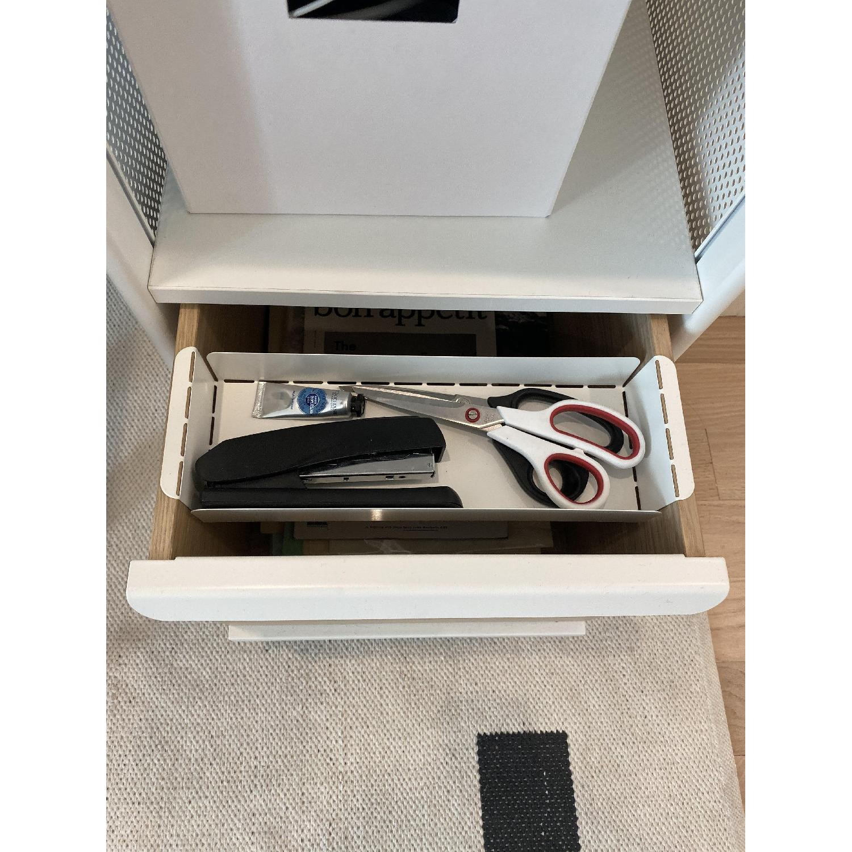 Ikea White Metal & Oak Storage Shelf - image-1