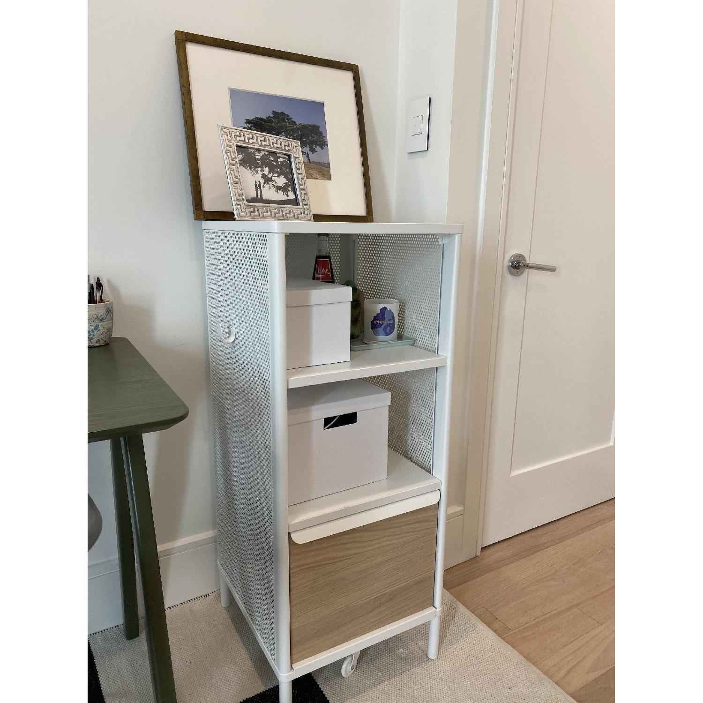 Ikea White Metal & Oak Storage Shelf - image-2
