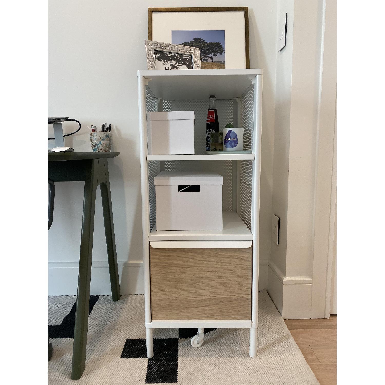 Ikea White Metal & Oak Storage Shelf - image-3