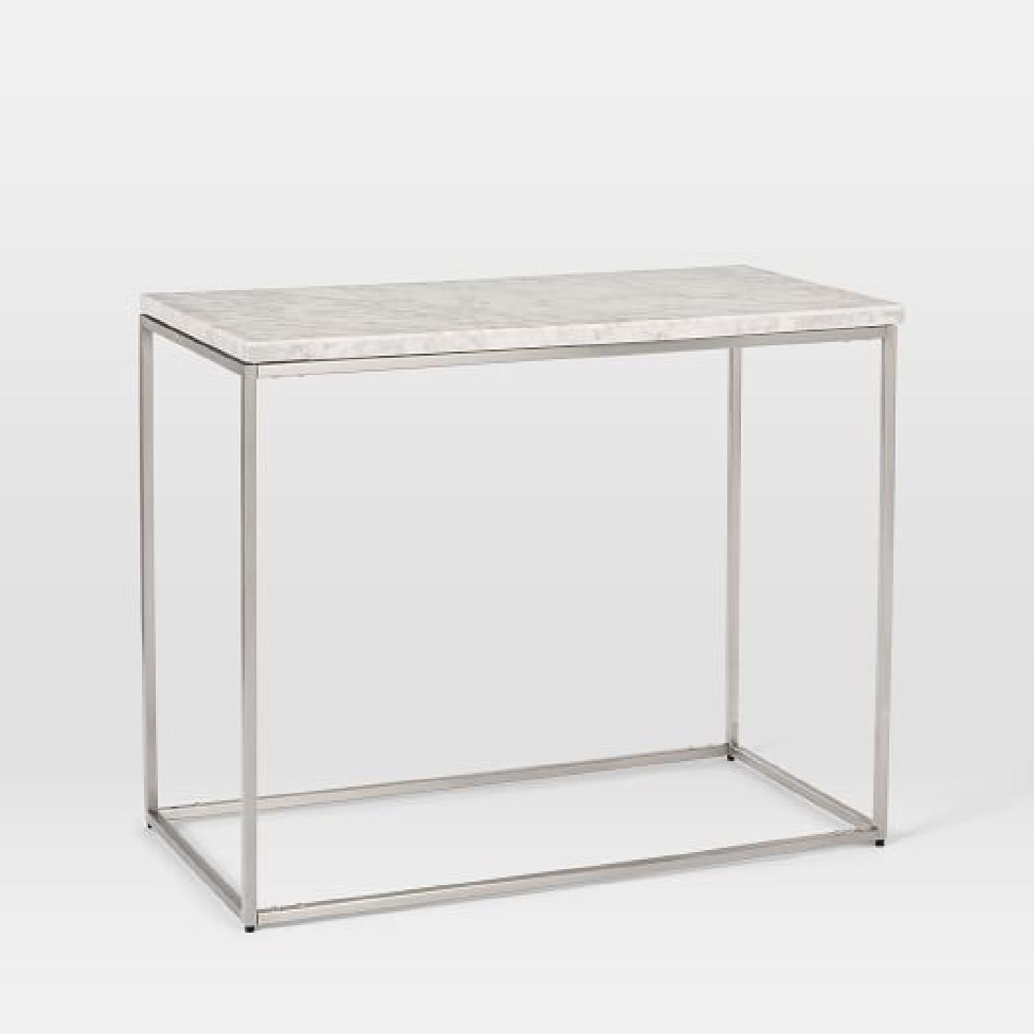 West Elm Marble Streamline Side Table in Satin Chrome - image-1