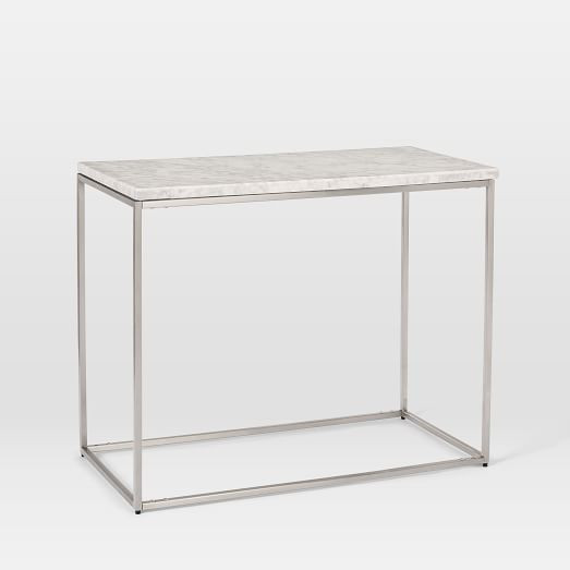 West Elm Marble Streamline Side Table in Satin Chrome