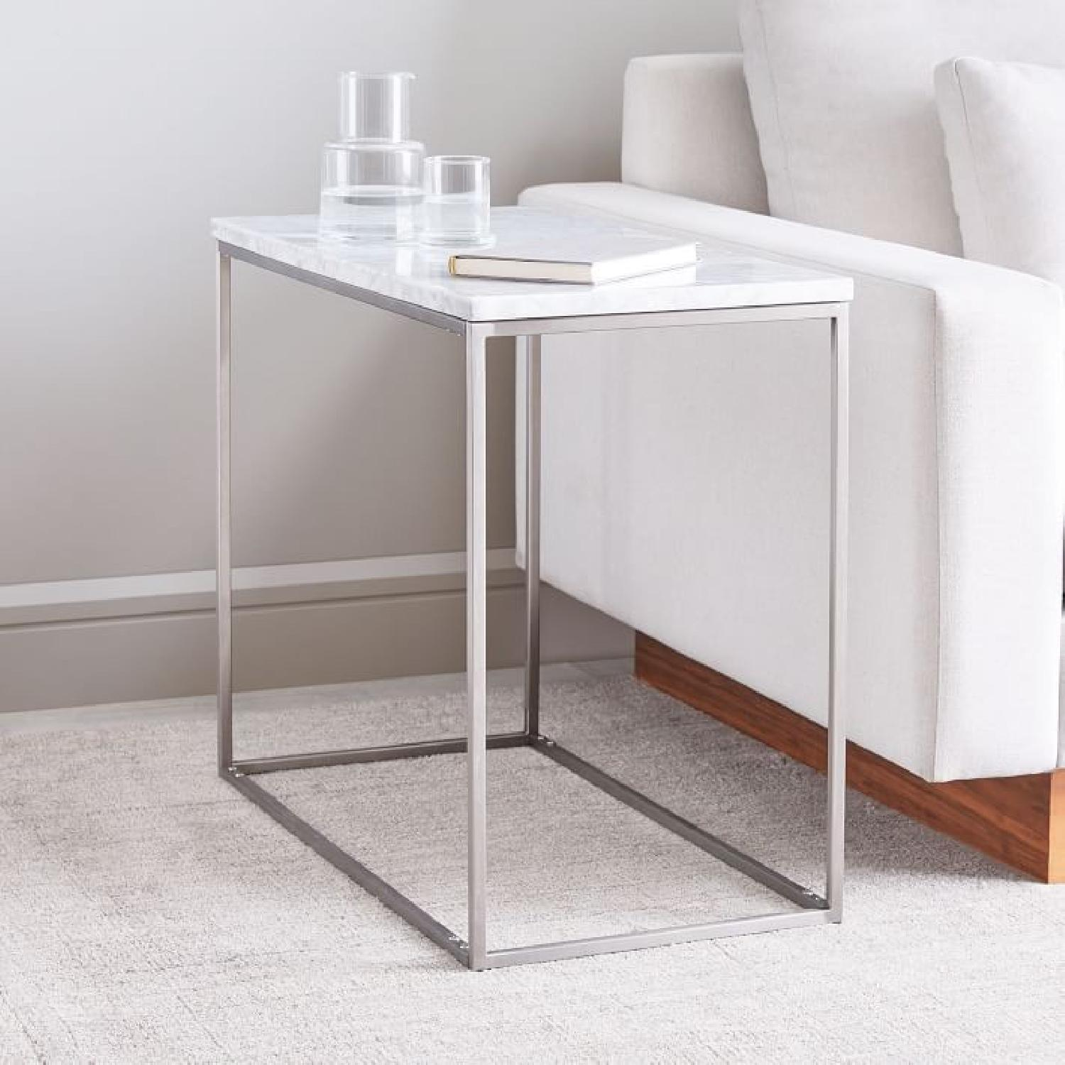 West Elm Marble Streamline Side Table in Satin Chrome - image-2
