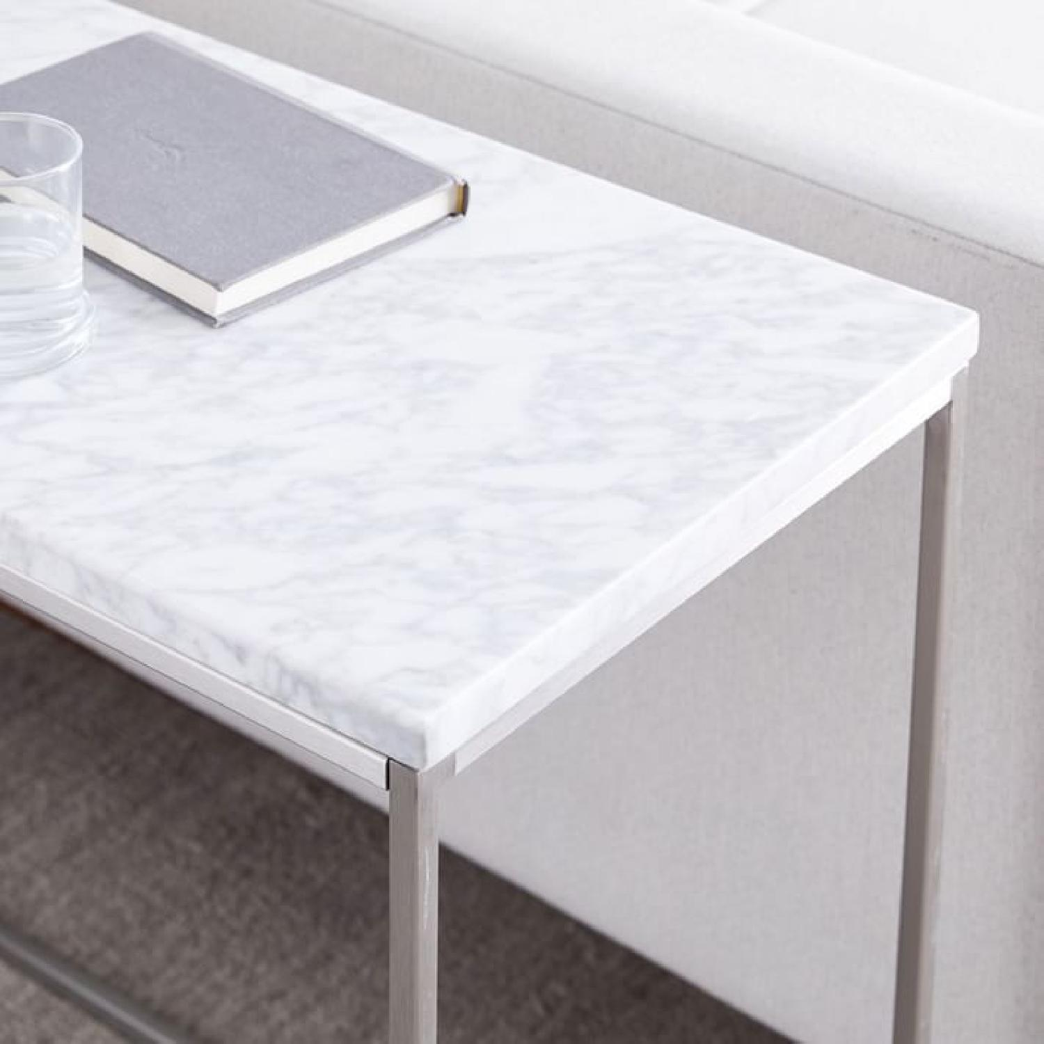 West Elm Marble Streamline Side Table in Satin Chrome - image-3