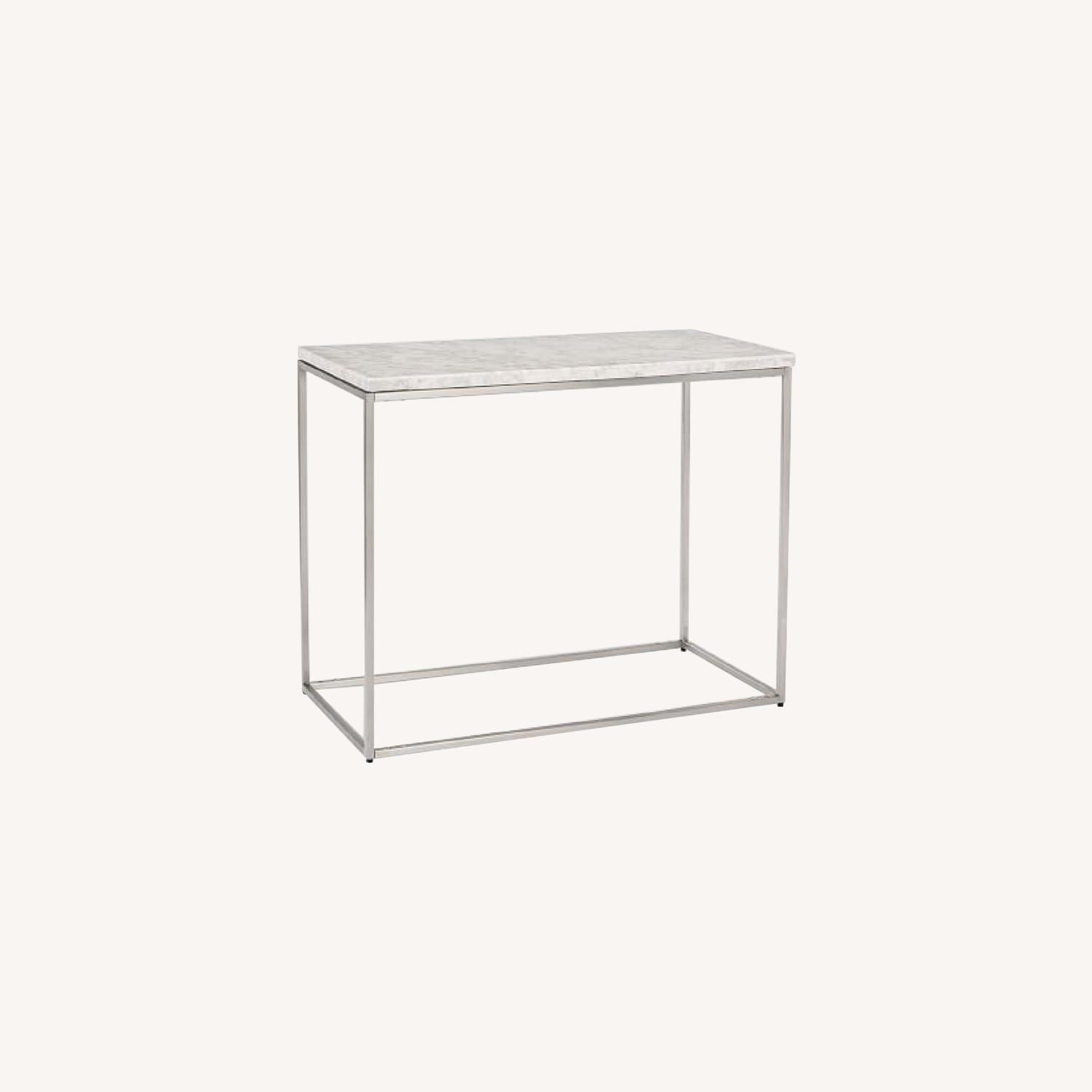 West Elm Marble Streamline Side Table in Satin Chrome - image-0