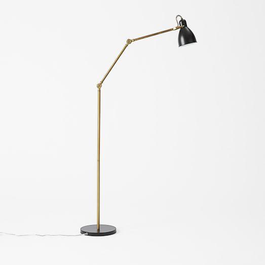 West Elm Industrial Task Floor Lamp in Black/Antique Brass