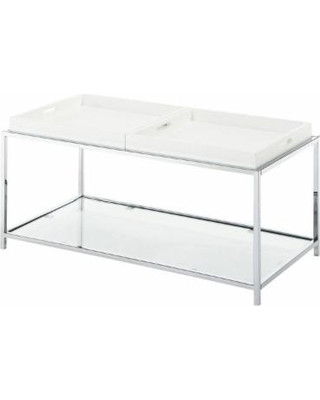 Convenience Concepts Square White Metal & Glass End Table