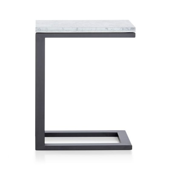 Crate & Barrel Grey Marble End Table
