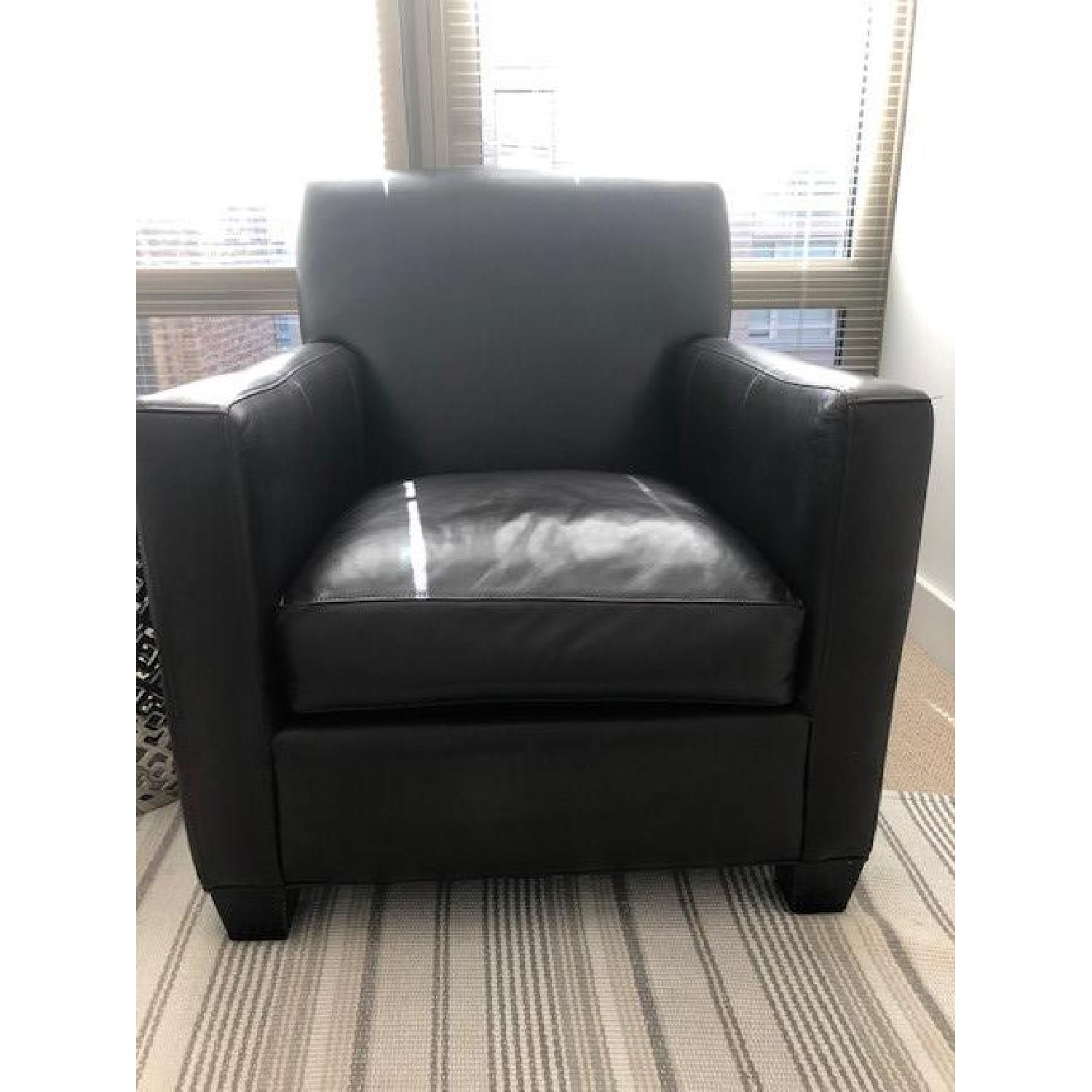 Crate & Barrel Leather Club Chair - image-1