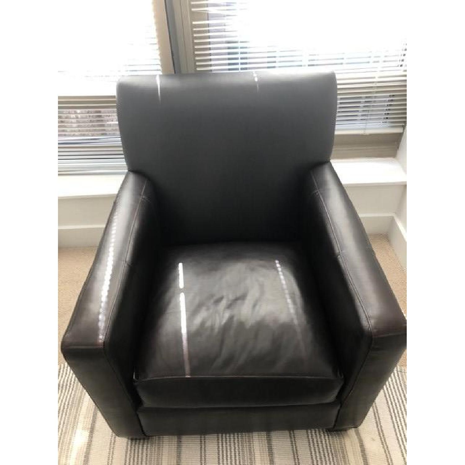 Crate & Barrel Leather Club Chair - image-3