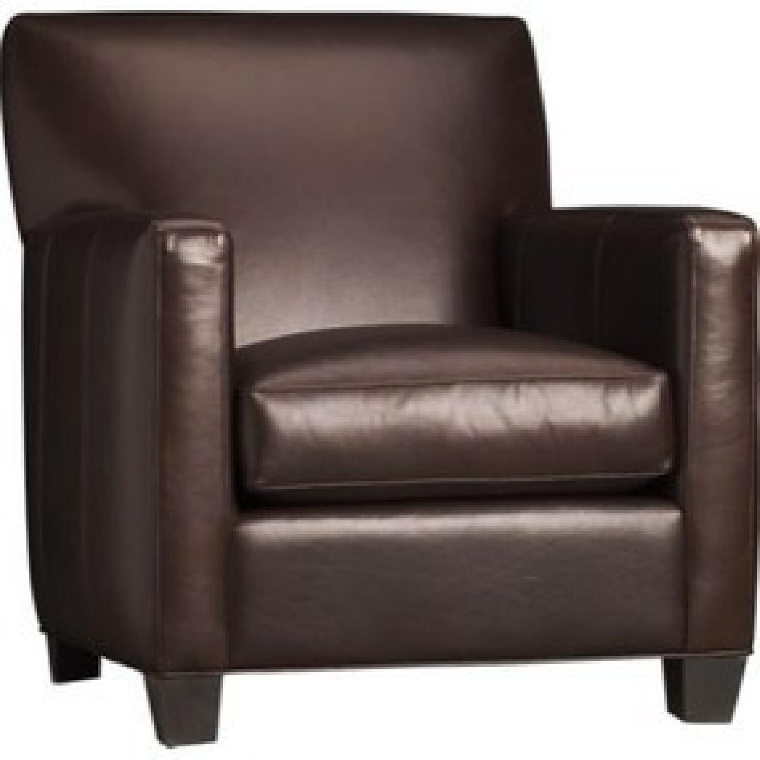 Crate & Barrel Leather Club Chair - image-0