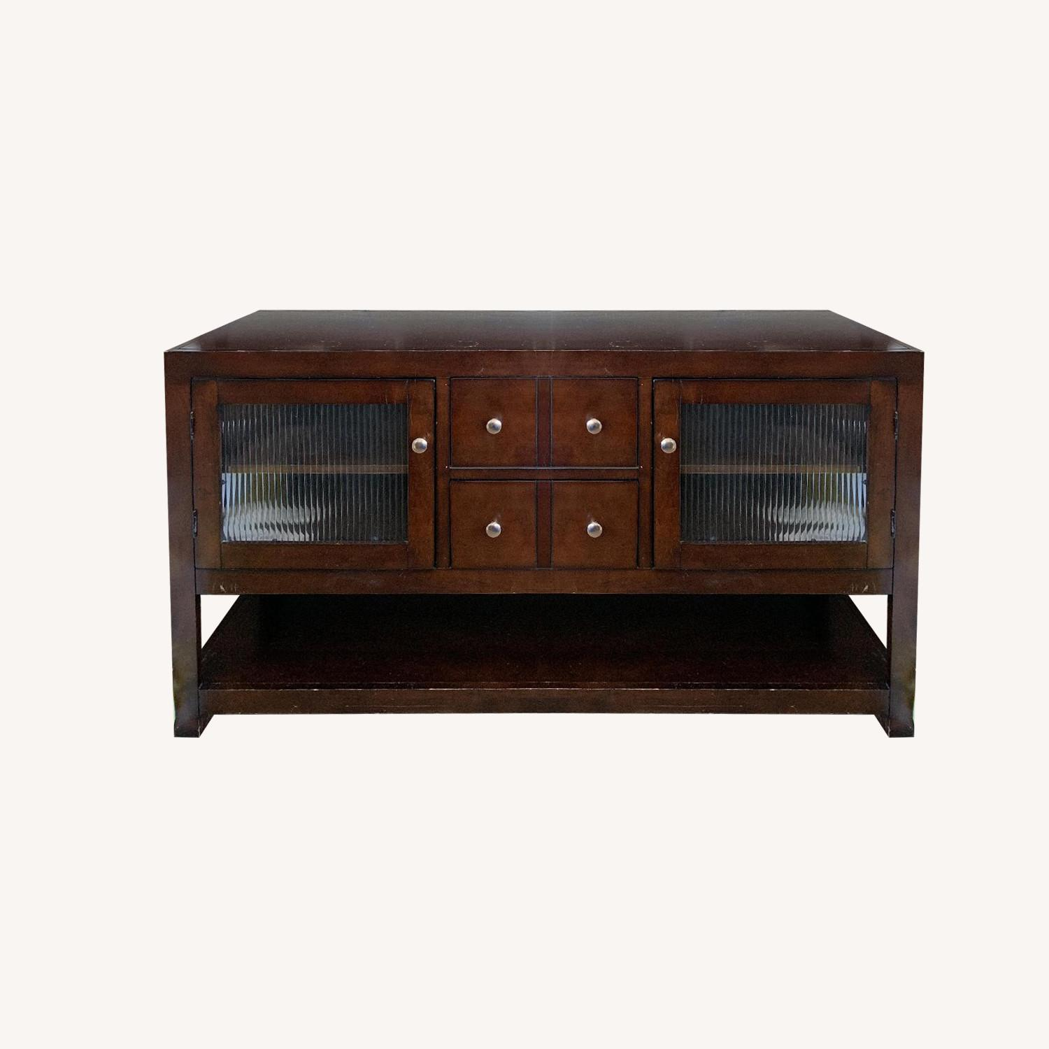 Pottery Barn Livingston Brown Media Stand - image-0