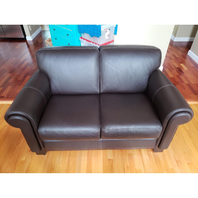Macy's Brown Italian Leather Loveseat - image-1