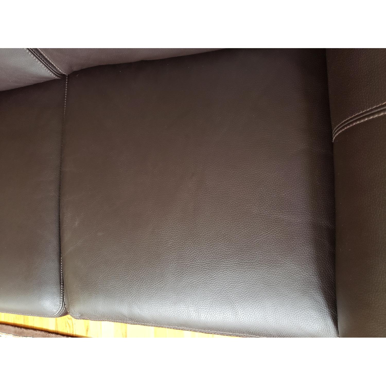 Macy's Brown Italian Leather Loveseat - image-7