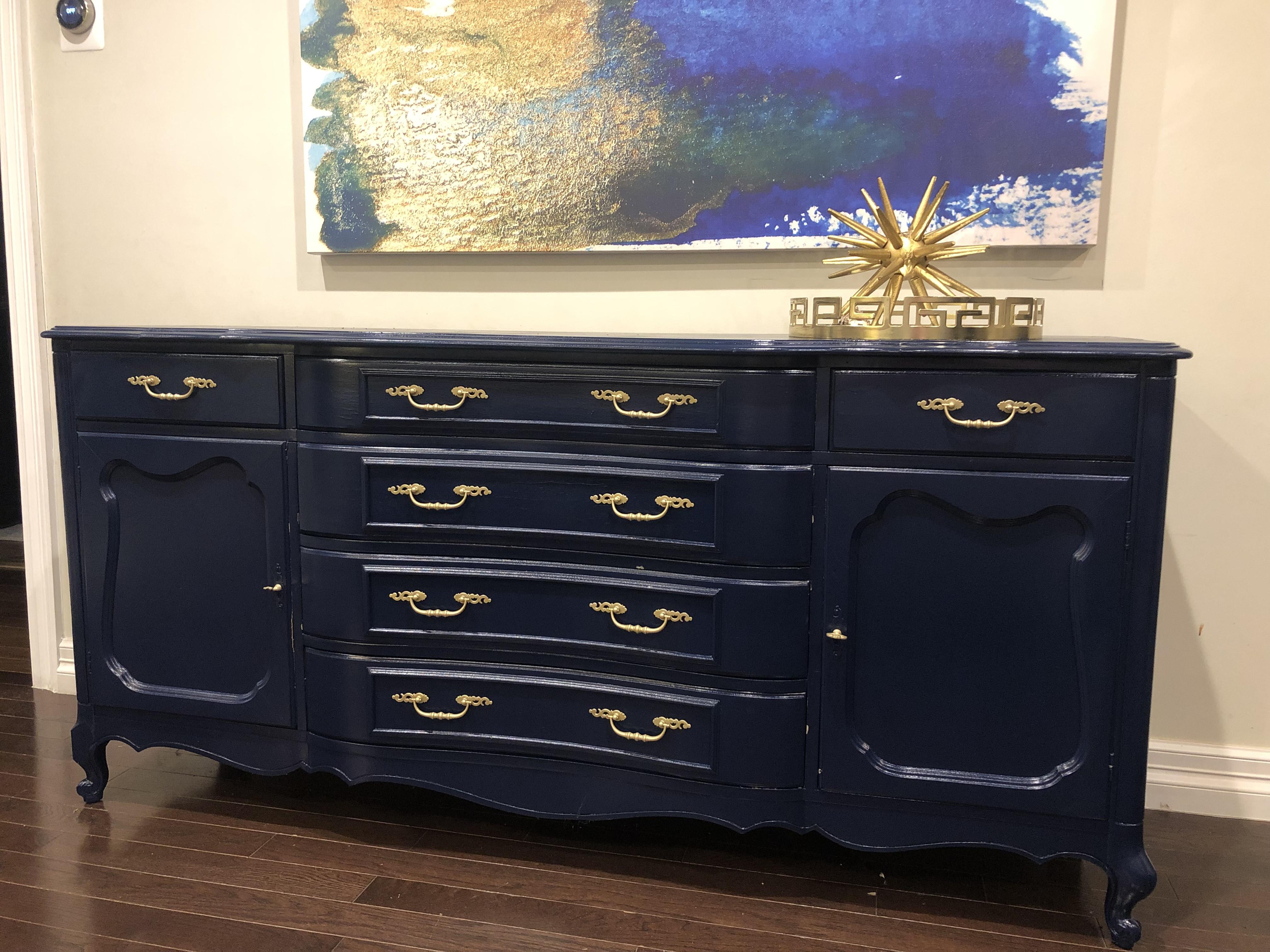 Provincial Style Navy Blue 6 Drawer Dresser/Buffet