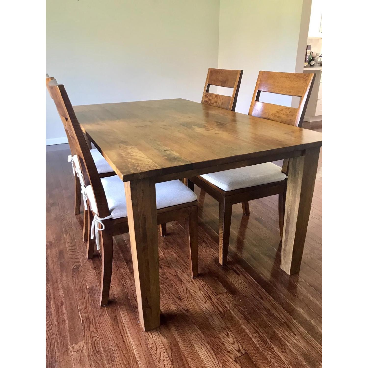 Crate & Barrel Basque Honey Dining Table w/ 4 Chairs - image-1