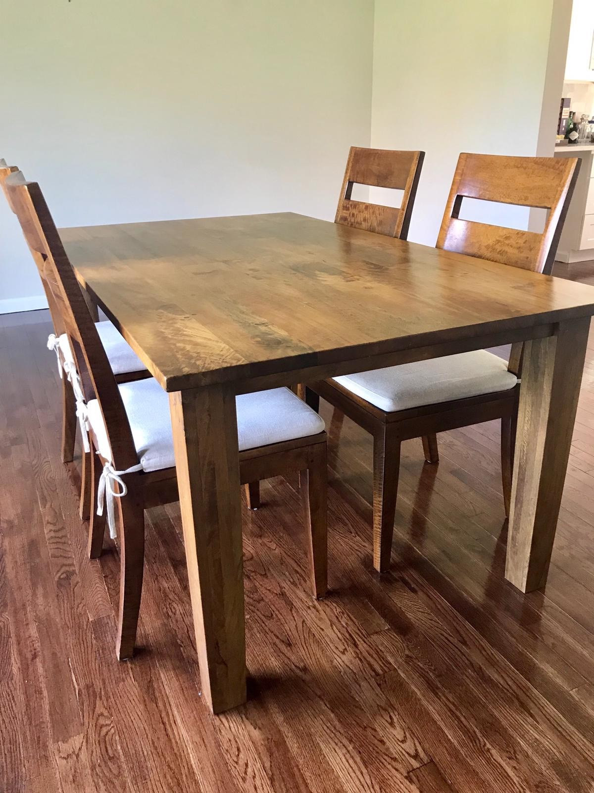 Crate & Barrel Basque Honey Dining Table w/ 4 Chairs