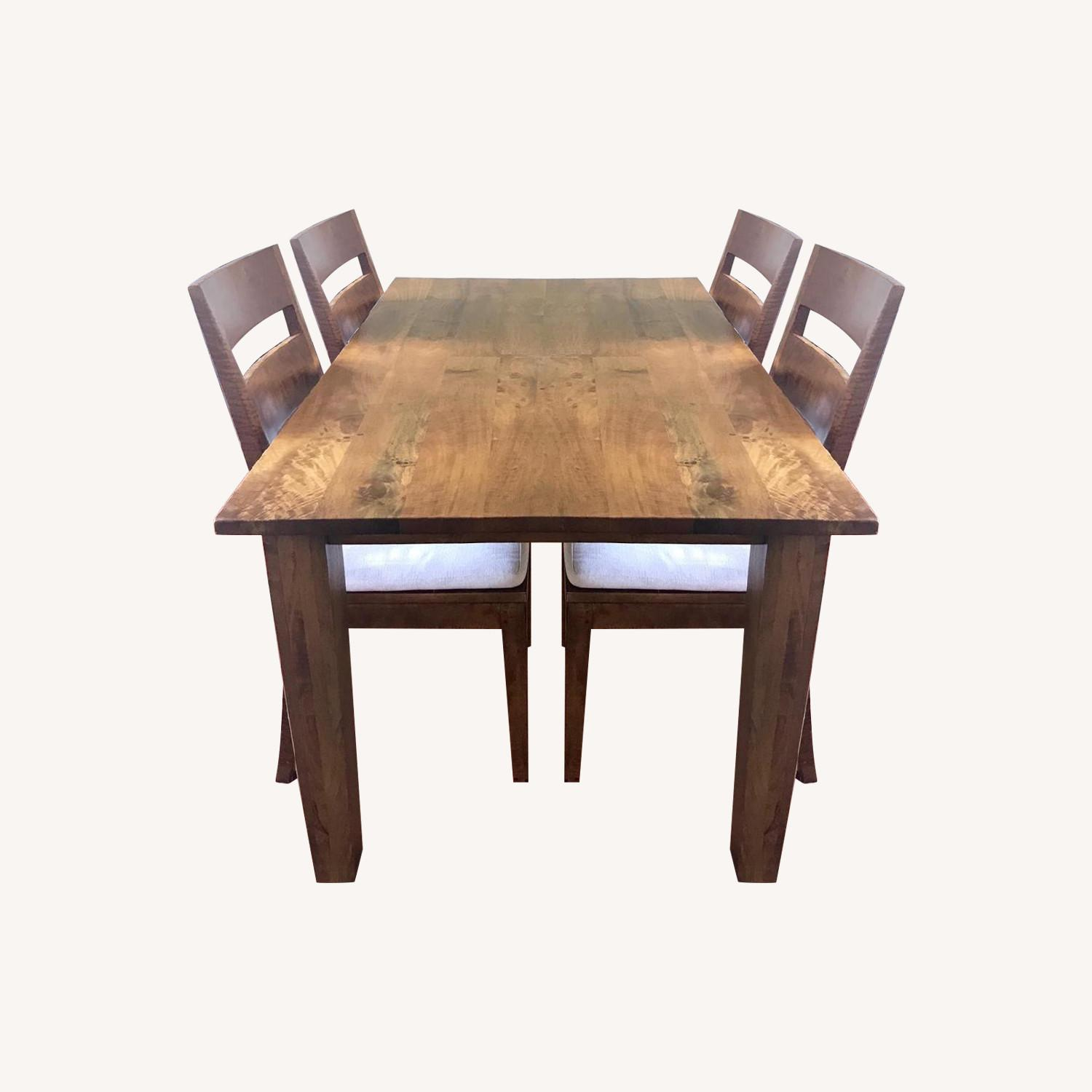 Crate & Barrel Basque Honey Dining Table w/ 4 Chairs - image-0