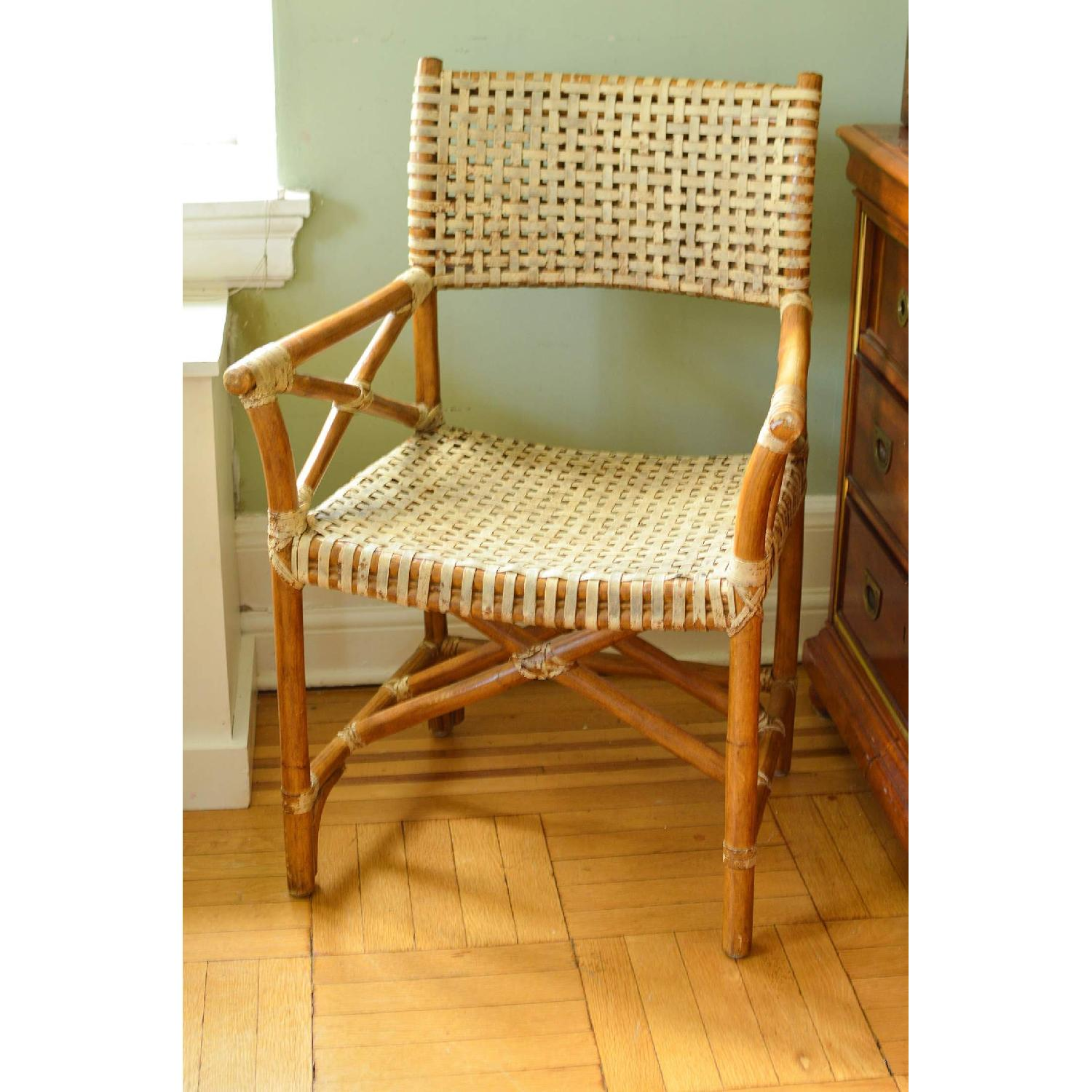 Vintage McGuire-esque Rawhide Bamboo Captains Chair - image-1