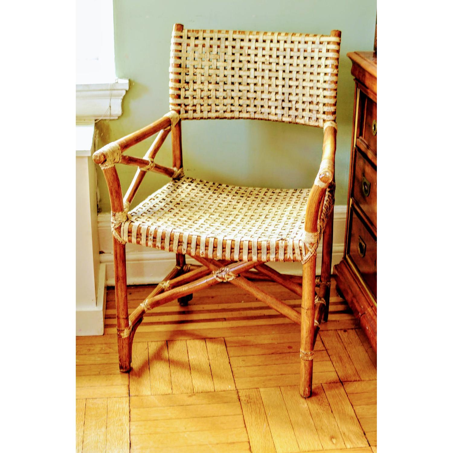 Vintage McGuire-esque Rawhide Bamboo Captains Chair - image-2
