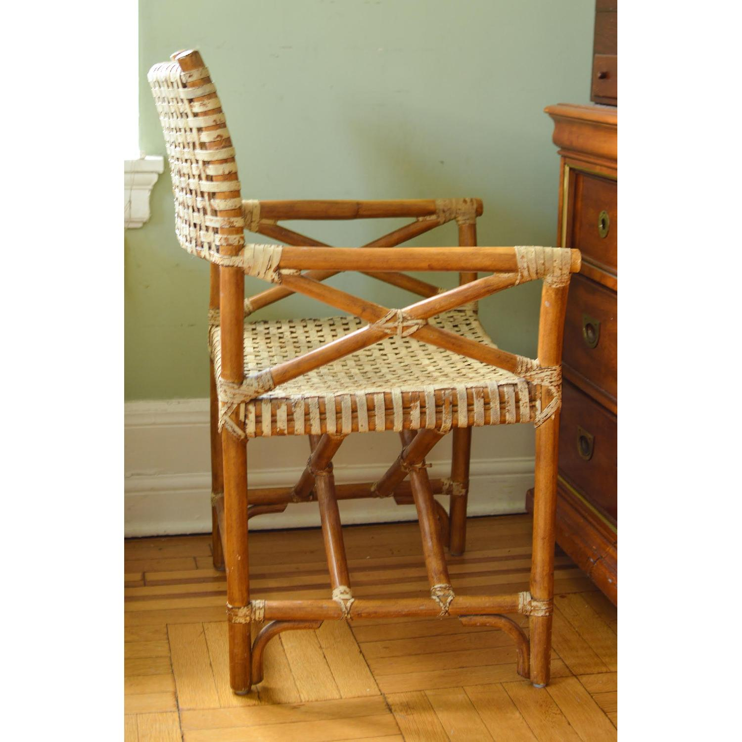 Vintage McGuire-esque Rawhide Bamboo Captains Chair - image-0