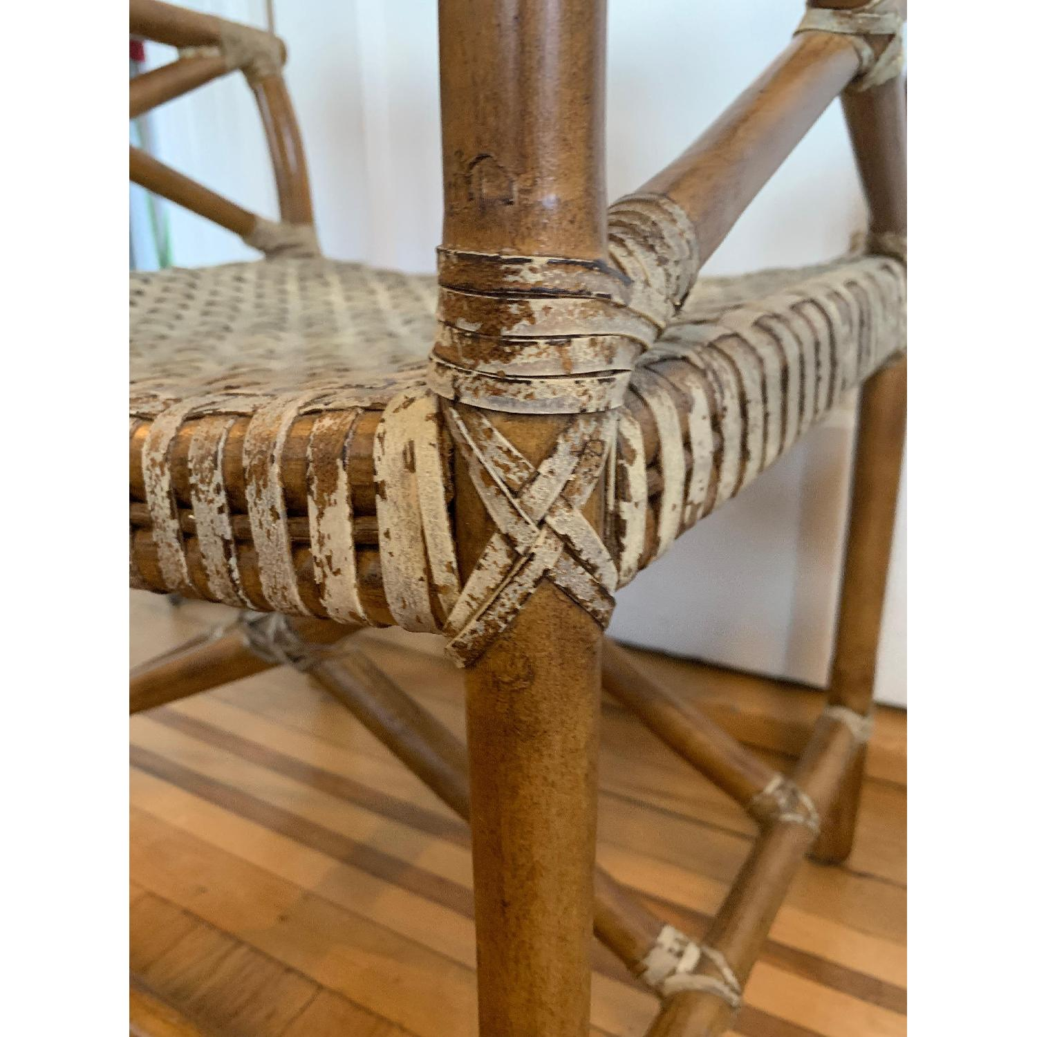 Vintage McGuire-esque Rawhide Bamboo Captains Chair - image-3