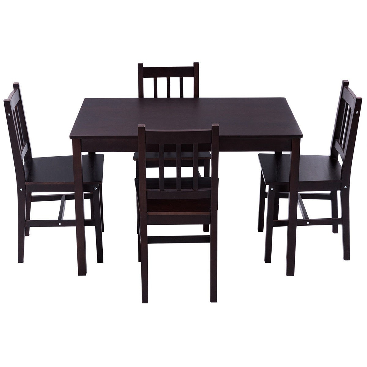 Costaway 5 Piece Solid Pine Wood Dining Set